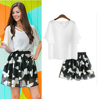 White Chiffon Blouse Printed Organza Skirt Set