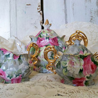 Tea set with roses shabby chic fine china Norcrest vintage collectibles Anita Spero