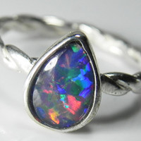Opal Ring  Opal Triplet ring  Stackable Ring  by FantaSeaJewelry