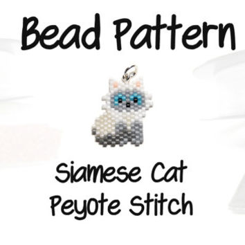 Siamese Cat Delica Seed Bead Pattern, Peyote Beading | DIGITAL DOWNLOAD