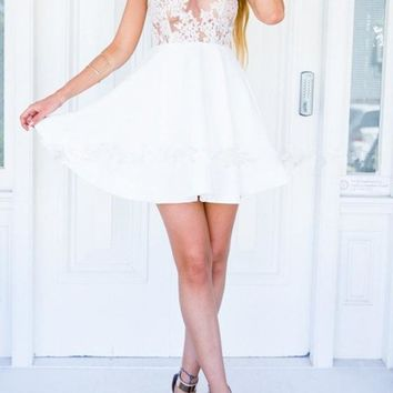 White Patchwork Lace Hollow-out Tie Back Halter Neck See-through Skater Mini Dress