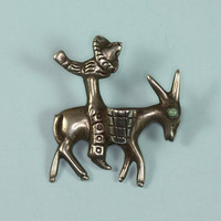 Donkey Burro Brooch Mexican Man Turquoise Accent Vintage