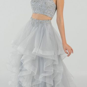 Two-Piece Tiered Long Prom Dress Halter Crop Top Silver