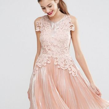 ASOS SALON Metallic Lace Applique Midi Skater Dress at asos.com