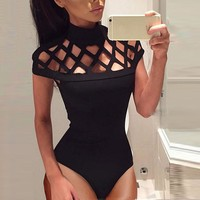 High Neck  Caged Sleeves Mesh Bodysuit Tops