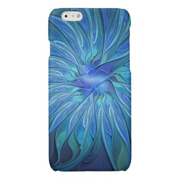 Blue Flower Fantasy Pattern, Abstract Fractal Art Glossy iPhone 6 Case