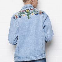 Liquor n Poker - Deep South Texas Cactus Embroidered denim jacket