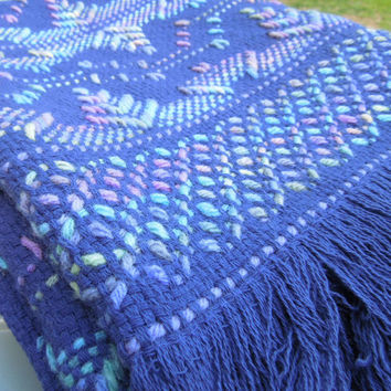 Vintage purple lavender afghan throw blanket or wall hanging - Cross stitched embroidered throw or wall hanging