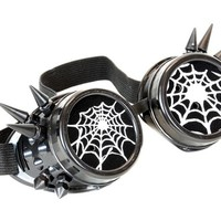 Black Goggles with White Spiderwebs Cobwebs & Spikes Goth Cyber Cosplay