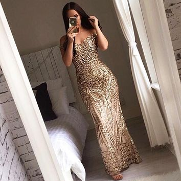 Sexy Gold Glitter Sequin Maxi Party Dress Off Shoulder Lining Low Cut Floor Length Backless Retro Evening Gown Green Blue Dress
