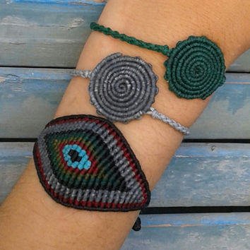 Cyclop Polyphemus macrame eye and spiral bracelets