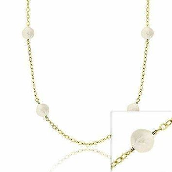18K Gold over Sterling Silver Freshwater Cultured White Coin Pearl Chain Necklace, 30 inch
