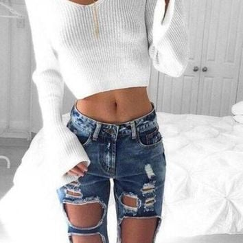 women beach bum jeans ripped denim pants gift 2