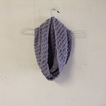 Crochet Infinity Scarf Lilac Tweed Extra Long Infinity Scarf Ready to Ship