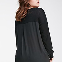 Chiffon-Paneled Sweater