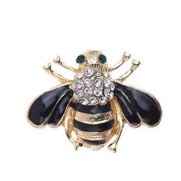 Bees Brooch Black Enamel Corsage Hats Scarf Clips Accessories Green Eyes Brooches For Woman Party 2017 Hot Sale