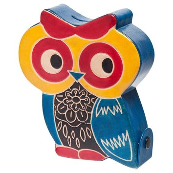 Soft & Colorful Embossed Genuine Leather Toy Coin Bank - Owl