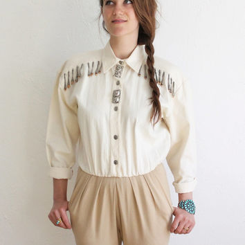Vintage 80s Embellished Equestrian Stirrup Jumpsuit   Women's XS Small