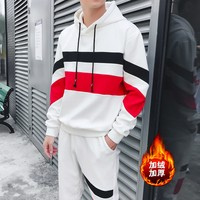 2018 winter hooded fleece suit men's leisure stripe fleece Thickening and velvet cotton fleece two-piece outfit