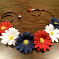 Patriotic Daisy Flower Headband, Flower Crown, Flower Halo, Festival Wear, EDC, Coachella, Rave, America, USA