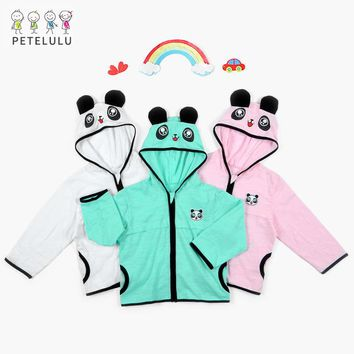 Petelulu Panda Baby Coat 2018 New Baby Cartoon Coat Hooded Baby Outerwear Spring Girls Outerwear Panda Baby Costume