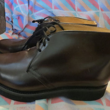Vintage   new   Mason CUSH N CREPE BROWN  Leather Sport Hunting  Work  delivery Chukka Postal Men's Soft Toe Boots Size 7 1/2 3e