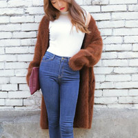 Ulzzang Winter Vintage Long Design Sweater Female Fashion Cardigans Outerwear Green and Coffee Soild Color