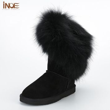 INOE Cheap Women Fox Fur Boots Genuine Leather Knee High Black Snow Boots with Fur Natural Flat High Winter Shoes for Women 12