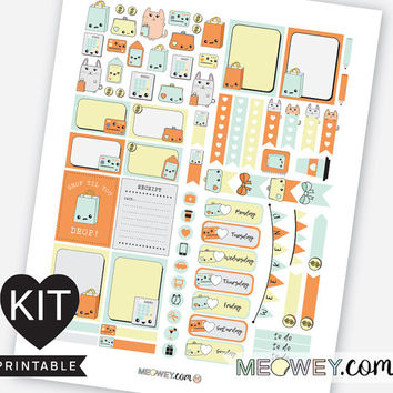 Boutique Kawaii Stickers Weekly Planner Kit Printables Erin Condren Bunny Shopping Shop Retail Therapy Palette Digital Download Package Kits