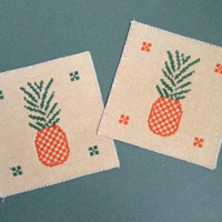 Cross stitch pineapple coasters A pair of coaster Tea dyed lazy style coasters Fabric coasters Beverage coasters