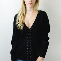 Tied Together Lace Up Sweater