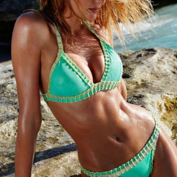 HOT GREEN KNIT TWO PIECE WOVEN BIKINIS