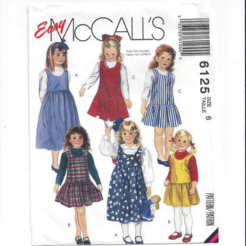 McCall's 6125 Pattern for Girls' Jumper in 2 Lengths, Size 6, From 1992, Easy McCall's, Vintage Pattern, Home Sew Pattern