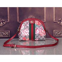 Gucci Women Shopping Shoulder Fresh Color Edge Bag B-WMXB-PFSH Floral Red