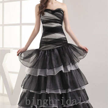 A-line Sweetheart Floor-length Layered Organza satin beads Party homecoming dress