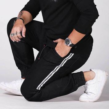 Fashion Drawstring Waist Men Jeans Casual Ankle Length Tapered Jogger Denim Pants Plus Size #DNY8701