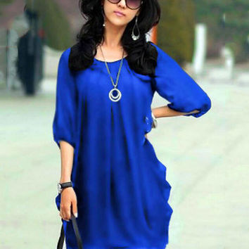 Korean Fake Two-piece Half Sleeve Irregular Mini Summer Chiffon Dress Plus Size