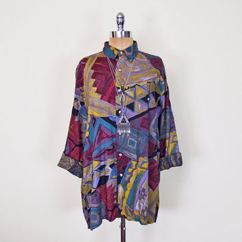 Vintage 80s 90s Abstract Shirt Blouse Top Abstract Print Shirt Slouchy Oversize Shirt 90s Grunge Shirt Hipster Shirt Men Women S M L Xl