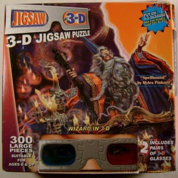 Wizards 300 Piece 3D Glasses Jigsaw Puzzle TDC Puzzles Spellbound Myles Pinkney
