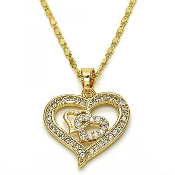 Gold Layered 04.304.0004.18 Fancy Necklace, Heart Design, with White Cubic Zirconia, Polished Finish, Golden Tone