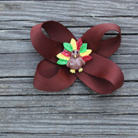 Thanksgiving Turkey Hair Bow clip for girls toddlers tweens teens women - Brown Grossgrain ribbon bow with Thanksgiving Turkey resin center