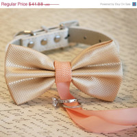 Champagne and Peach wedding, Dog ring bearer, Dog Bow Tie, Pet Wedding accessory, Pet lovers, Champagne and Peach wedding, Gift