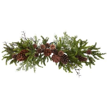 Artificial Flowers -30 Inch Pine And Cone Swag Artificial Plant