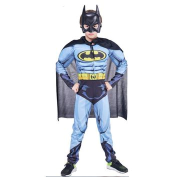 Cool Boys Muscle Batman Costumes with Cape Kids Movie Character Superhero Role Play Outfit Halloween Carnival Brave Hero Cosplay SetAT_93_12