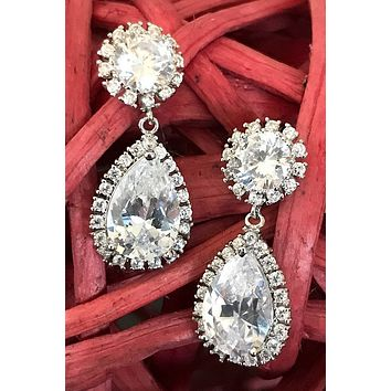 True Affection Silver Crystal CZ Mini Teardrop Drop Earrings