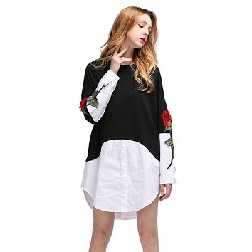 Fashion Flower Embroidery Multicolor Long Sleeve Knit Stitching Irregular Shirt Dress