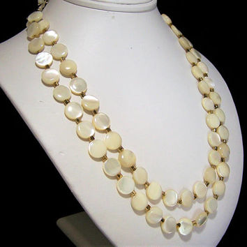 Mother of PearlBridal Necklace, Flat Disk Beads, Double Strand Beads, Adjustable Length, Vintage Wedding Jewelry, Mid Century Era 817