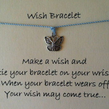Wish Bracelet, Sterling Silver Butterfly Wish Bracelet, Friendship Bracelet, Charm Bracelet