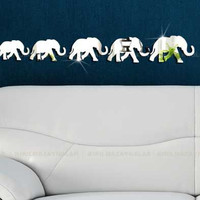 Decorative large Wall mirror, siver mirror ,Shatterproof mirrors, elephant wall decal