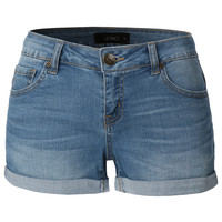 LE3NO Womens Cuffed Medium Rise Denim Shorts with Stretch